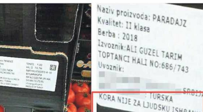 Na paradajzu iz Turske napisano: Kora nije za ljudsku ishranu!