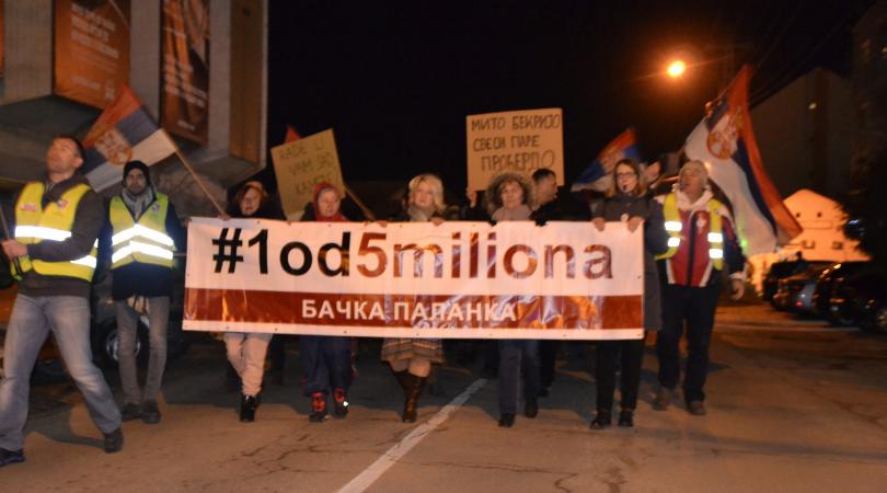 """Protesti """"1 od 5 miliona"""" održani i u Bačkoj Palanci"""