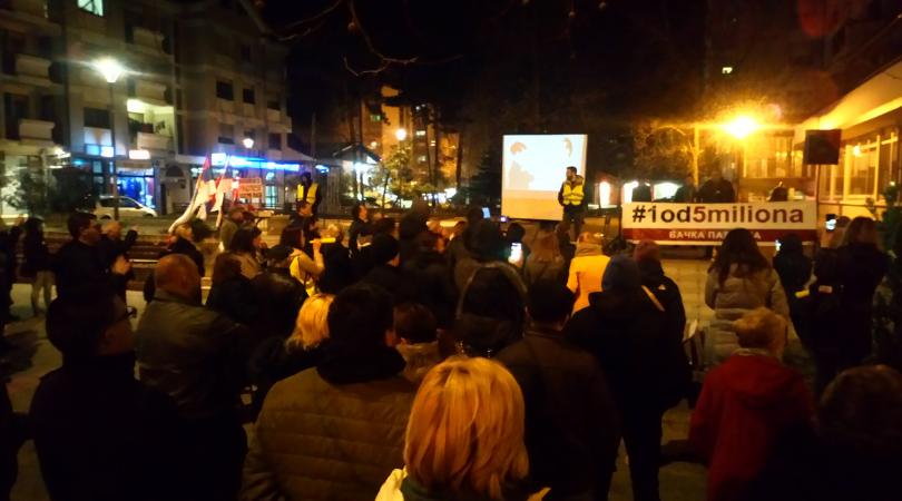 """Drugi po redu protesti """"1 od 5 miliona"""" u Bačkoj Palanci"""