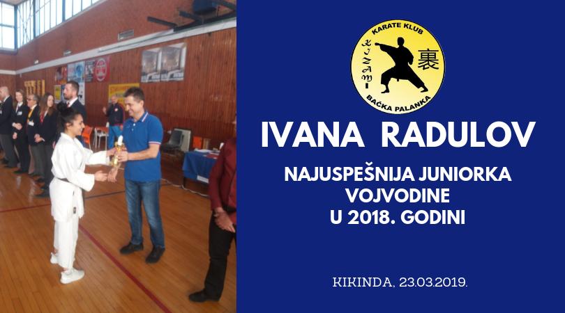 "Potvrda dobrog rada KK ""Kizami"" i prestižna nagrada za Ivanu Radulov"