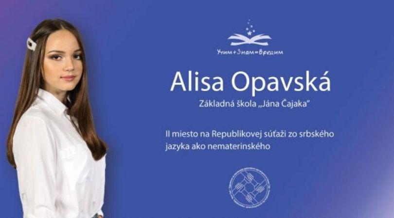 Najbolji na bilbordima u Opštini Bački Petrovac: Alisa Opavski