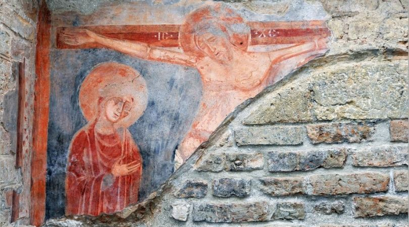 Freska Raspeća Hristovog s Bogorodicom s početka 13. stoleća, u franjevačkoj crkvi u Baču (Preuzeto sa: www.ravnoplov.rs)