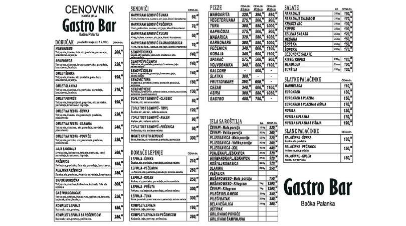Cenovnik Gastro bar